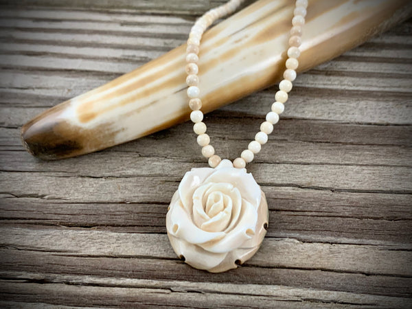 40 mm Oval Rose Ivory Necklace