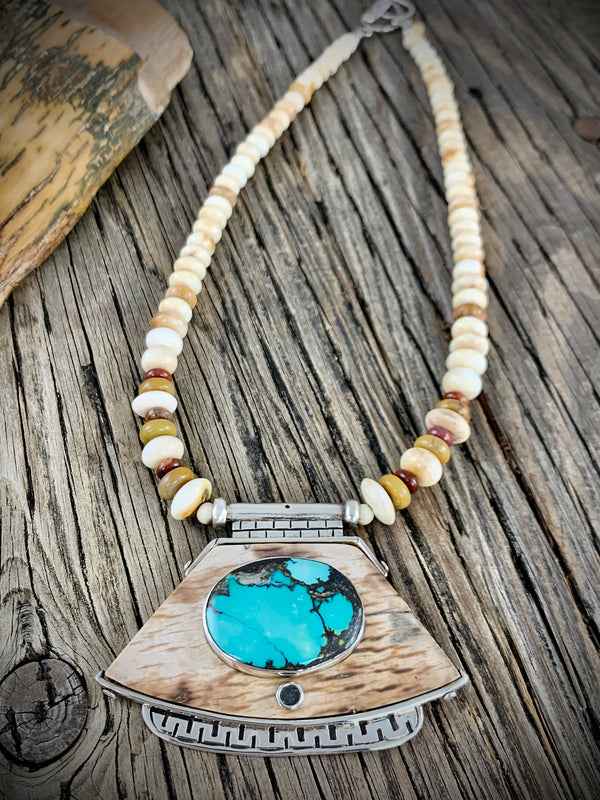 Ivory Necklace with Turquoise