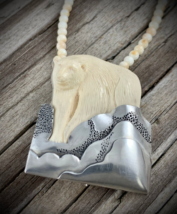 Ivory Bear Pin / Pendant