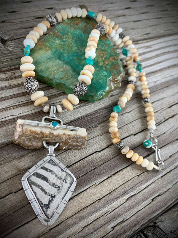 Ivory, Turquoise and Pottery Shard Necklace