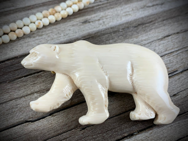 Polar Bear Ivory Brooch - 60mm