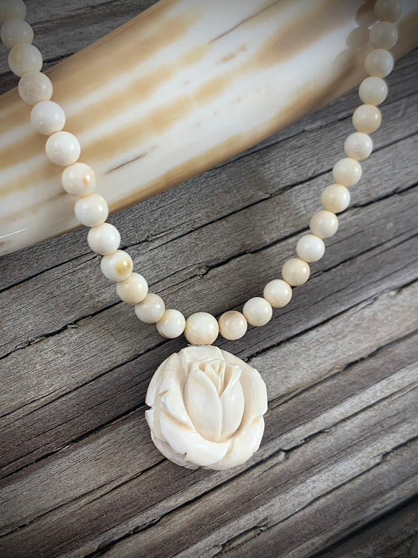 Round Rose Bead Ivory Necklace