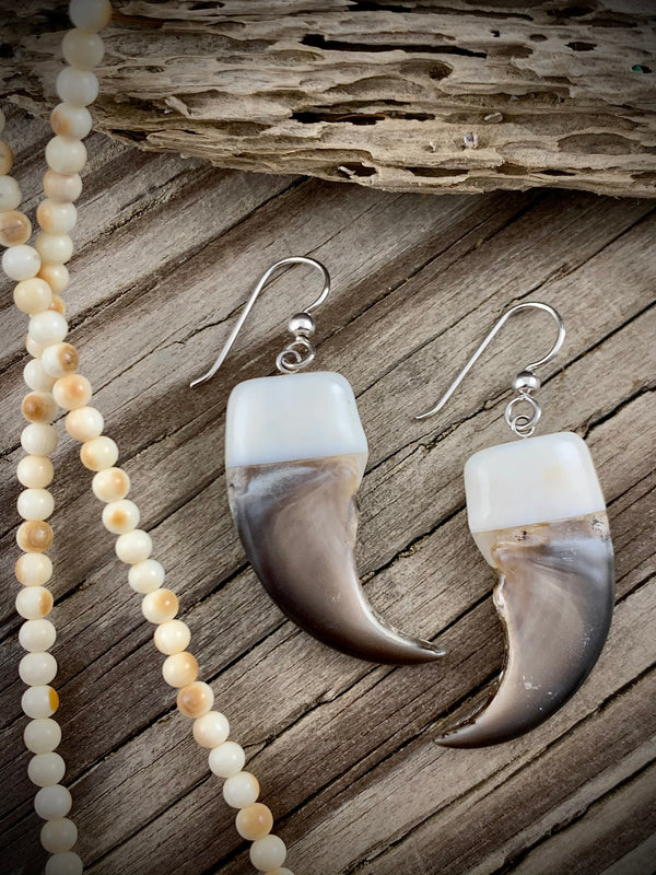 Bear Claw and Walrus Ivory Earrings