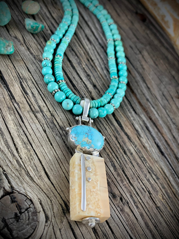 Walrus Ivory and Turquoise Necklace - 18""