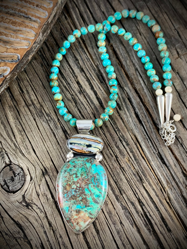 Mammoth Tooth & Turquoise Pendant