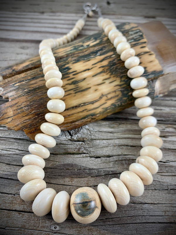8-18mm Graduated Mammoth Ivory Necklace - 19""