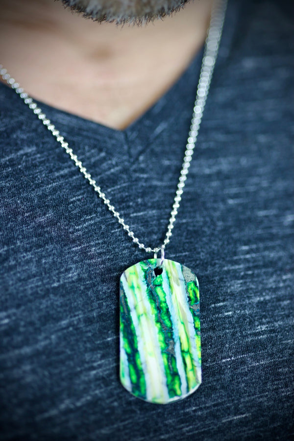 Mammoth Tooth Dog Tag - Green