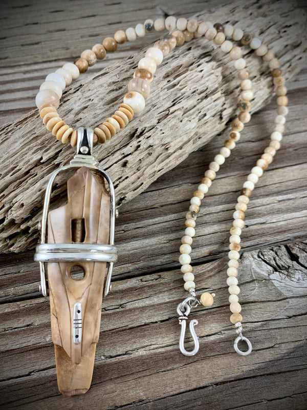 Ivory Artifact Necklace - 20""