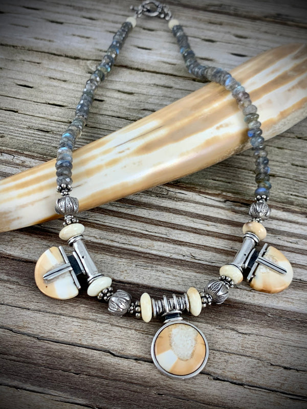Ivory and Aquamarine Necklace 18""