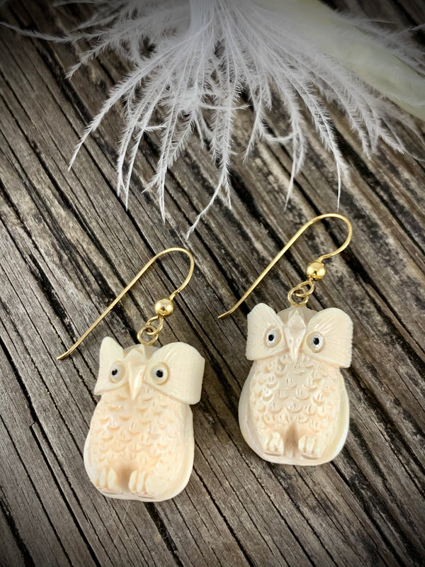 Mammoth Ivory Owl 20mm Earrings