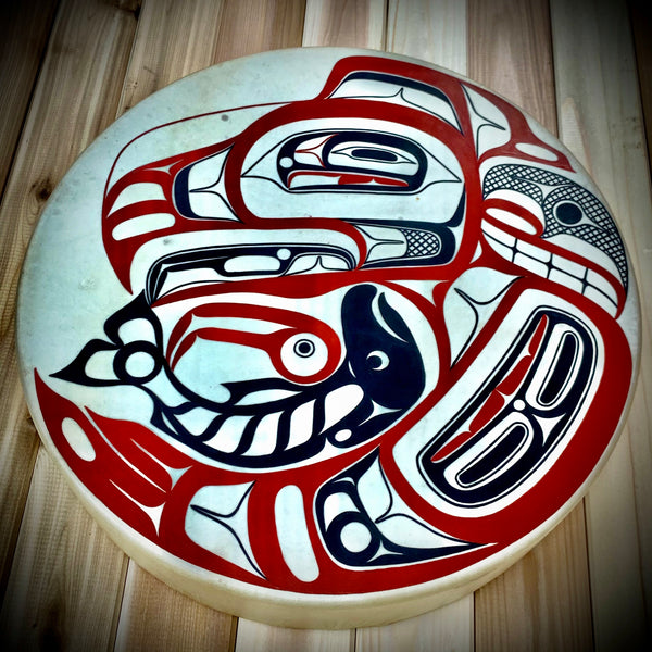 "Eagle and Salmon 16"" Drum by David Boxley"