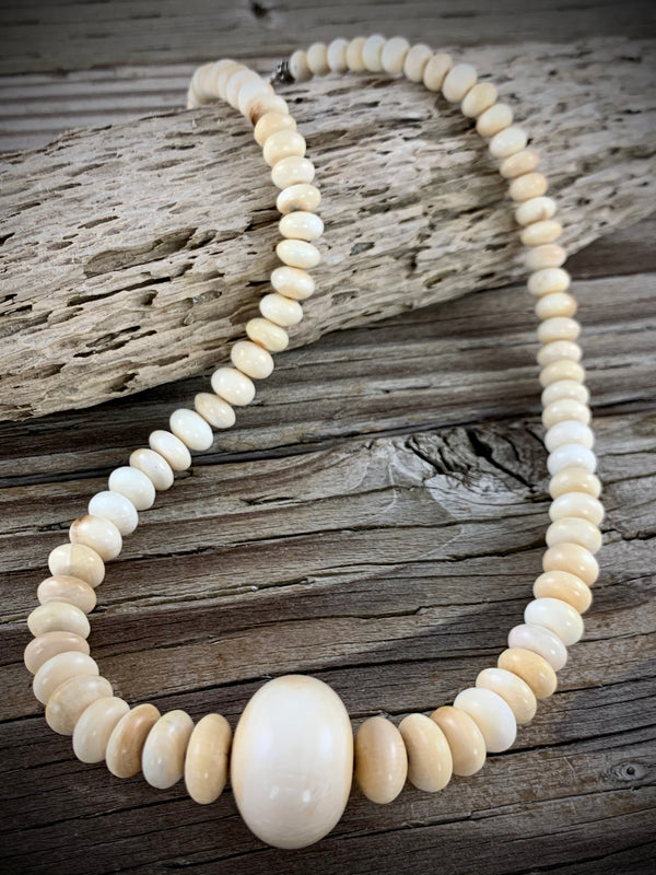 Mammoth Ivory Rondelle Bead Necklace - 18""