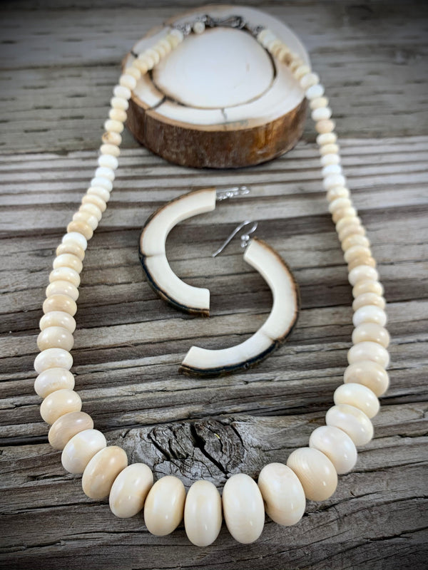 6-14mm Graduated Mammoth Ivory Necklace - 20""