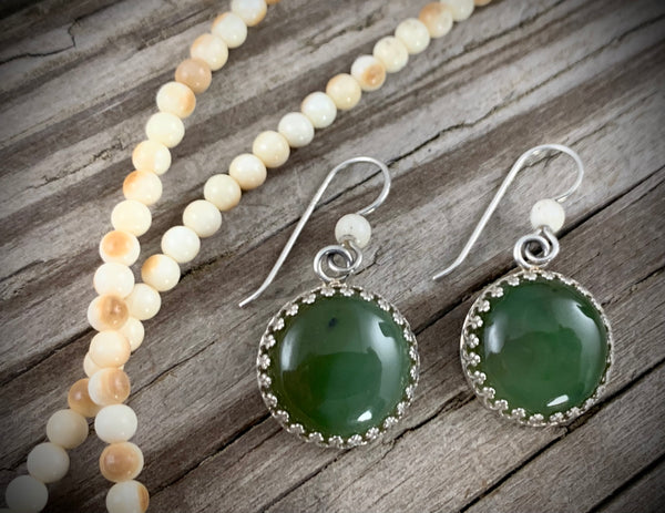 Mammoth Ivory & Jade Earrings