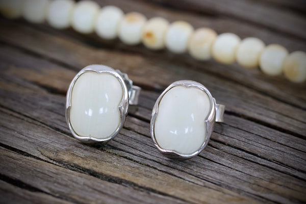 Ivory Oval Stud Earrings