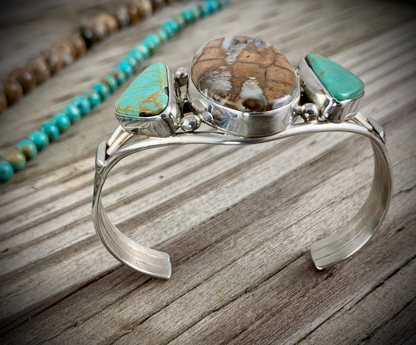 Mammoth Tooth and Turquoise Bracelet