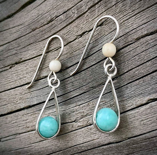 Mammoth Ivory with Larimar Earrings