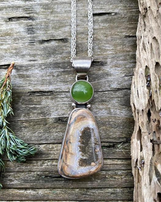 Mammoth Tooth Pendant with Jade