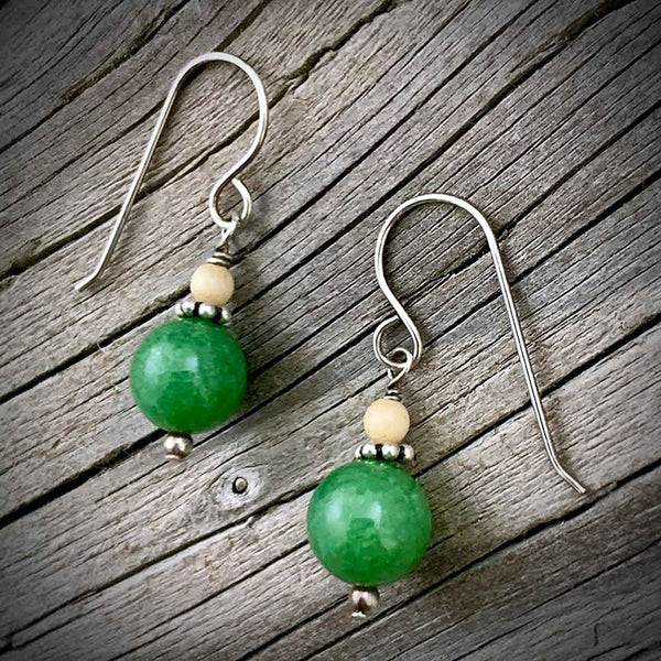 Mammoth Ivory w/ Jade Earrings