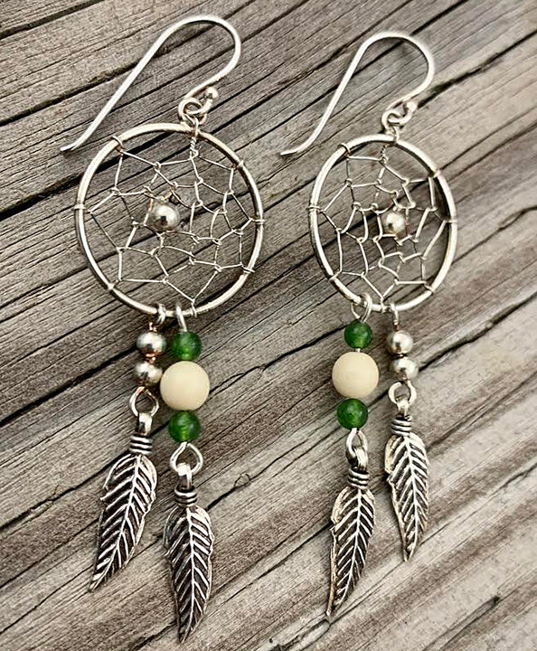 Silver Earrings with Jade