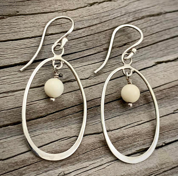 Silver Earrings with Bead