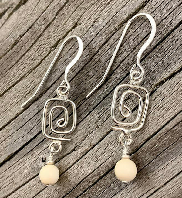 Spiral Earrings with Ivory Bead