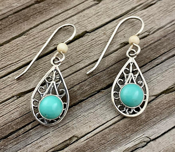 Mammoth Ivory & Turquoise Earrings