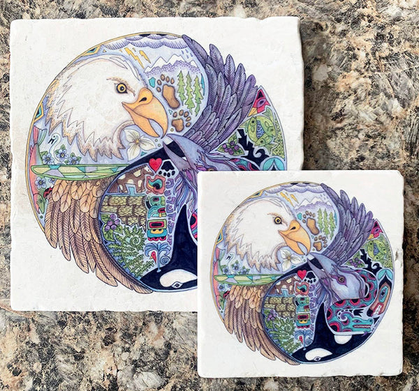 Lovebirds Marble  Trivet or Coaster by Sue Coccia