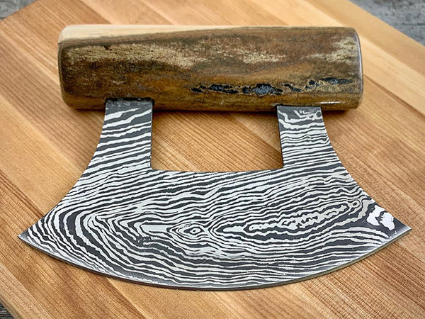 Woolly Mammoth Bone Damascus Ulu Knife
