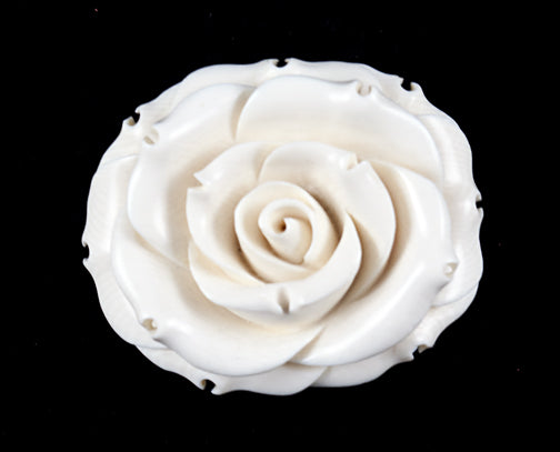 Oval Rose Ivory Brooch - 42mm