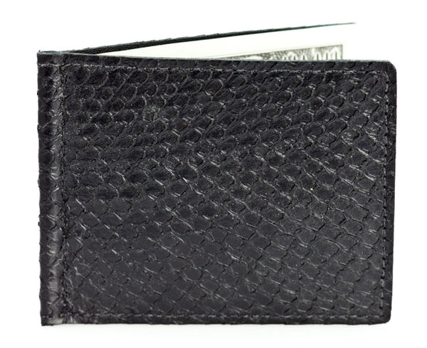 Money Clip - Black Alaska Salmon Leather