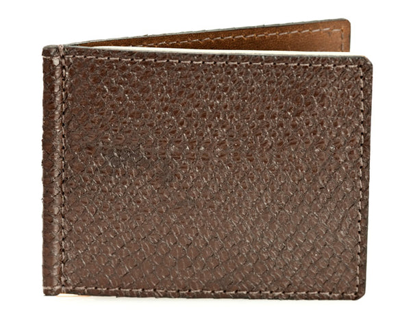 Money Clip - Brown Alaska Salmon Leather