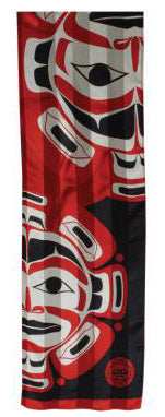 Moon Mask Silk Satin Stripe Scarf Red