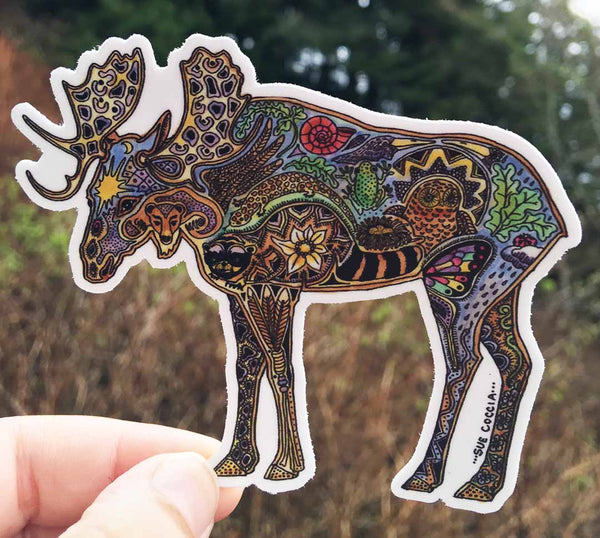 Moose Sticker by Sue Coccia