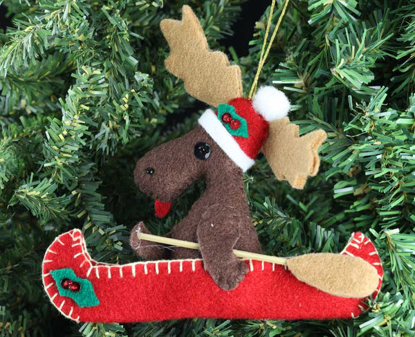 Moose in Canoe Ornament
