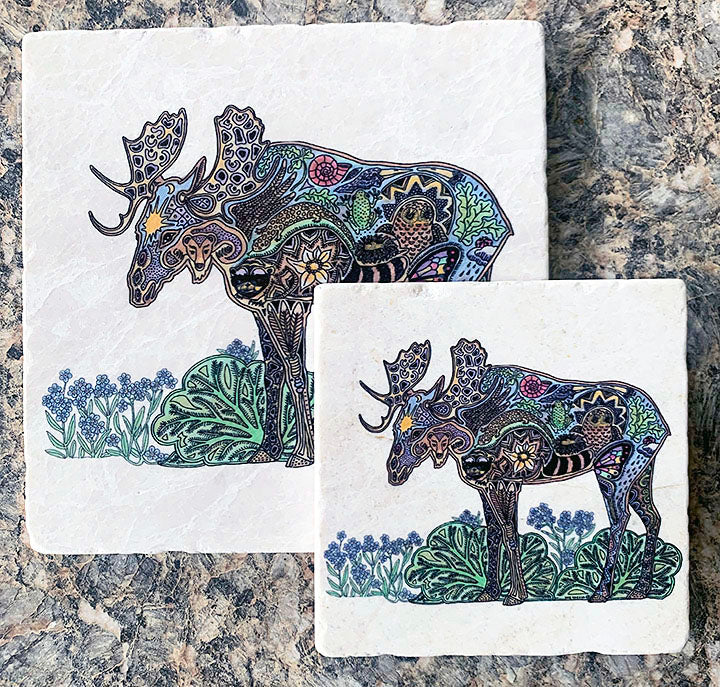 Moose Marble Trivet or Coaster by Sue Coccia