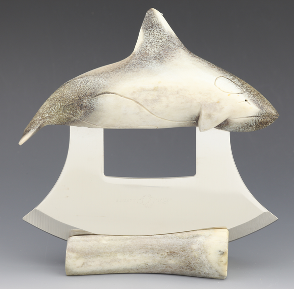 Caribou Antler Orca Whale Carving Ulu