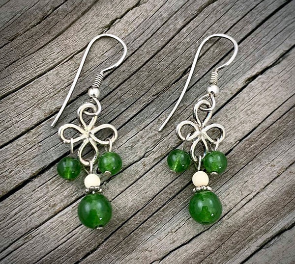 Silver Petals Earrings with Jade Bead