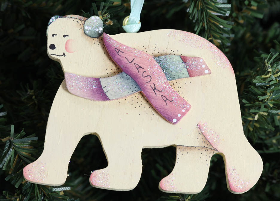 Polar Bear with Scarf Ornament