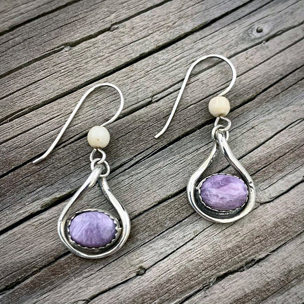 Mammoth Ivory & Charoite Earrings