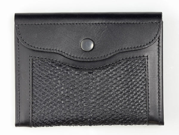 Passport Wallet- Black Alaska Salmon Leather