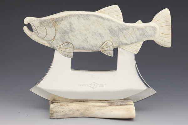 Moose Antler Salmon Carving Ulu