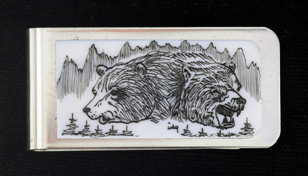 Scrimshaw Money Clip - Double Bear