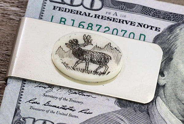 Scrimshaw Oval Money Clip - Elk