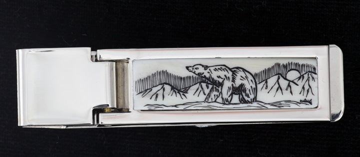 Scrimshaw Hinged Rectangle Money Clip- Polar
