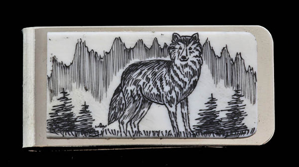 Scrimshaw Money Clip - Wolf