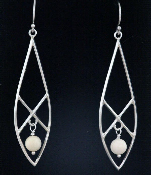 Silver Snow Shoe Earrings with Bead