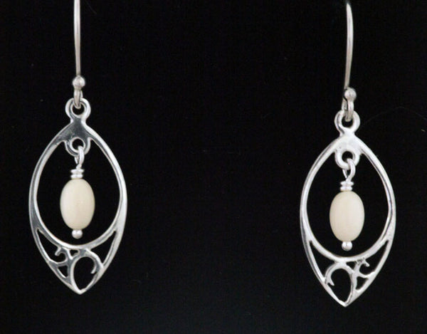 Silver Dew Drop Earrings with Bead