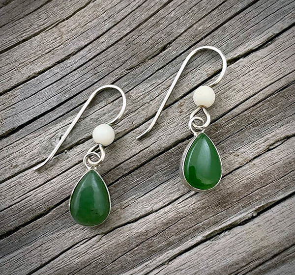 Mammoth Ivory earrings w/ Jade