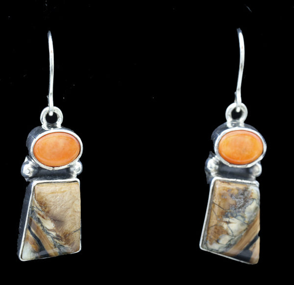 Mammoth Tooth Earrings w/ Spiny Oyster